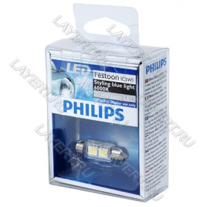Автолампа C5W (SV8.5/8) 38мм 2 SMD Blue Vision LED 6000K 12V Philips 128596000KX1
