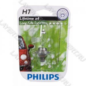 Автолампа H7(55) PX26d Long Life Eco Vision (блистер) 12V Philips 12972LLECOB1