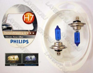 Автолампа H7 (55) PX26d Diamond Vision 5000K к-т(2шт) 12V Philips 12972DVS2